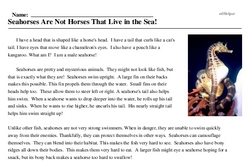 Print <i>Seahorses Are Not Horses That Live in the Sea!</i> reading comprehension.