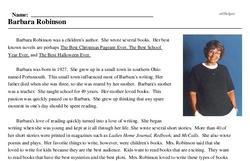 Print <i>Barbara Robinson</i> reading comprehension.