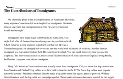 Print <i>The Contributions of Immigrants</i> reading comprehension.