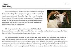 Print <i>Dall Sheep</i> reading comprehension.