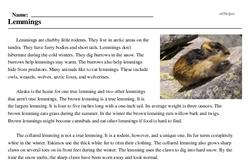 Print <i>Lemmings</i> reading comprehension.