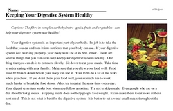 Print <i>Keeping Your Digestive System Healthy</i> reading comprehension.