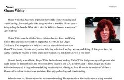 Print <i>Shaun White</i> reading comprehension.
