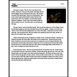 Print <i>Tuatara</i> reading comprehension.