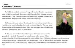 Print <i>California Condors</i> reading comprehension.