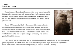 Print <i>Markus Zusak</i> reading comprehension.