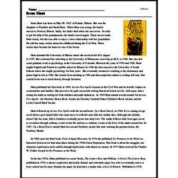 Print <i>Irene Hunt</i> reading comprehension.