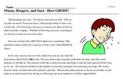 Print <i>Mucus, Boogers, and Snot - How GROSS!</i> reading comprehension.