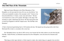 Print <i>The Old Man of the Mountain</i> reading comprehension.
