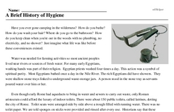 Print <i>A Brief History of Hygiene</i> reading comprehension.