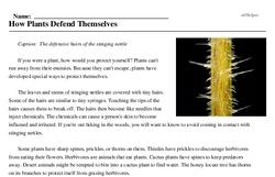 Print <i>How Plants Defend Themselves</i> reading comprehension.