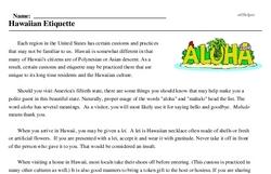 Print <i>Hawaiian Etiquette</i> reading comprehension.