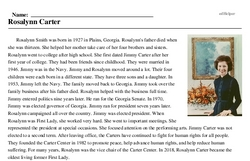 Print <i>Rosalynn Carter</i> reading comprehension.