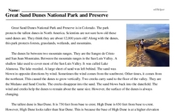 Print <i>Great Sand Dunes National Park and Preserve</i> reading comprehension.