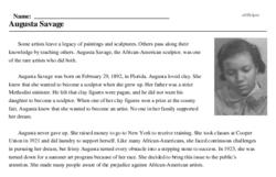 Print <i>Augusta Savage</i> reading comprehension.