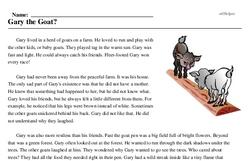 Print <i>Gary the Goat?</i> reading comprehension.
