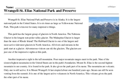 Print <i>Wrangell-St. Elias National Park and Preserve</i> reading comprehension.