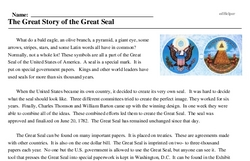 Print <i>The Great Story of the Great Seal</i> reading comprehension.