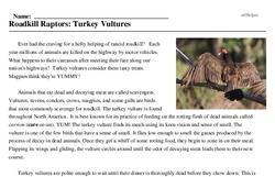 Print <i>Roadkill Raptors: Turkey Vultures</i> reading comprehension.
