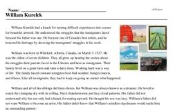 Print <i>William Kurelek</i> reading comprehension.