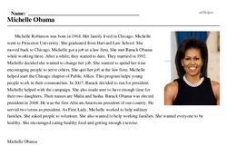 Print <i>Michelle Obama</i> reading comprehension.