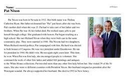 Print <i>Pat Nixon</i> reading comprehension.
