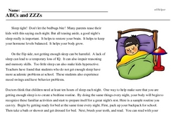 Print <i>ABCs and ZZZs</i> reading comprehension.