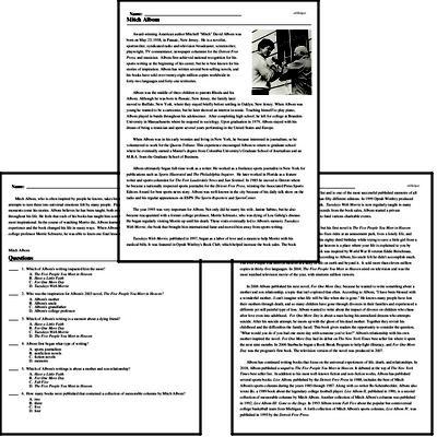 Print <i>Mitch Albom</i> reading comprehension.