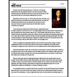 Print <i>Blaise Pascal</i> reading comprehension.