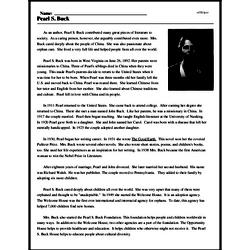 Print <i>Pearl S. Buck</i> reading comprehension.