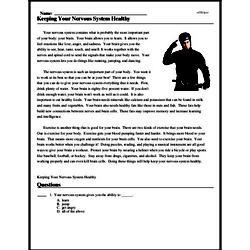 Print <i>Keeping Your Nervous System Healthy</i> reading comprehension.