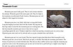 Print <i>Mountain Goats</i> reading comprehension.