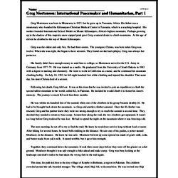 Print <i>Greg Mortenson: International Peacemaker and Humanitarian, Part 1</i> reading comprehension.