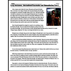 Print <i>Greg Mortenson: International Peacemaker and Humanitarian, Part 2</i> reading comprehension.