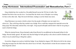 Print <i>Greg Mortenson: International Peacemaker and Humanitarian, Part 3</i> reading comprehension.