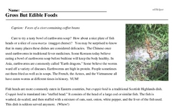 Print <i>Gross But Edible Foods</i> reading comprehension.