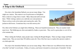 Print <i>A Trip to the Outback</i> reading comprehension.