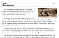 Print <i>Giant Anteaters</i> reading comprehension.