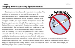 Print <i>Keeping Your Respiratory System Healthy</i> reading comprehension.