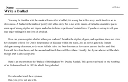Print <i>Write a Ballad</i> reading comprehension.