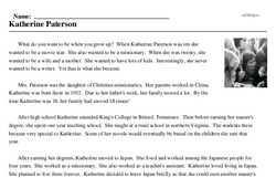 Print <i>Katherine Paterson</i> reading comprehension.