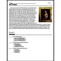Print <i>Bess Truman</i> reading comprehension.