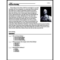 Print <i>Florence Harding</i> reading comprehension.