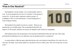 Print <i>What Is One Hundred?</i> reading comprehension.