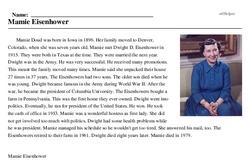Print <i>Mamie Eisenhower</i> reading comprehension.