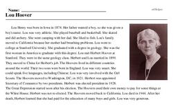 Print <i>Lou Hoover</i> reading comprehension.