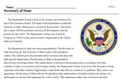 Print <i>Secretary of State</i> reading comprehension.