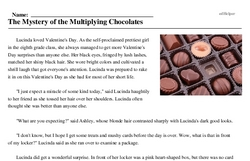 Print <i>The Mystery of the Multiplying Chocolates</i> reading comprehension.