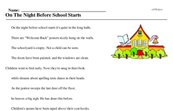 Print <i>On The Night Before School Starts</i> reading comprehension.
