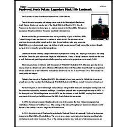 Print <i>Deadwood, South Dakota: Legendary Black Hills Landmark</i> reading comprehension.